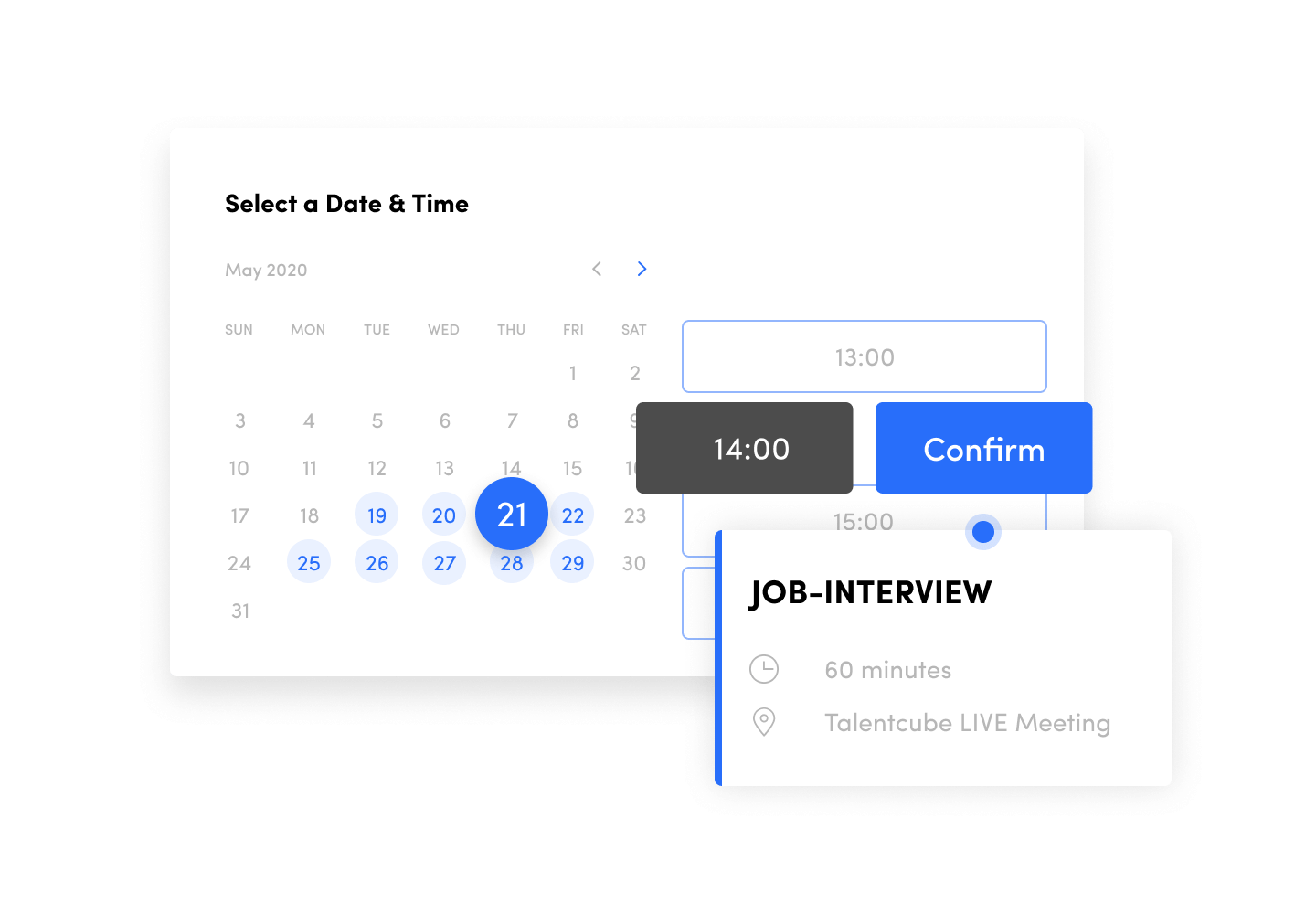 Talentcube enables automatic scheduling of live-interview appointments